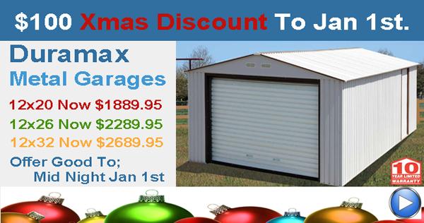 Duramax Xmas Garage Offer at Storage Sheds Direct